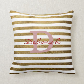 personalized golden stripes monogrammed decor throw pillow