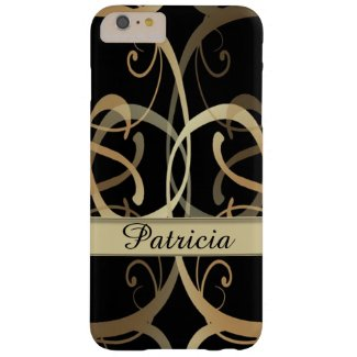Personalized Golden Swirls Pattern On Black