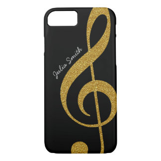 personalized golden treble clef music iPhone 7 case
