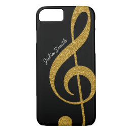 personalized golden treble clef music iPhone 8/7 case