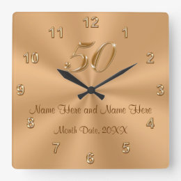 Personalized Golden Wedding Anniversary Gift Clock
