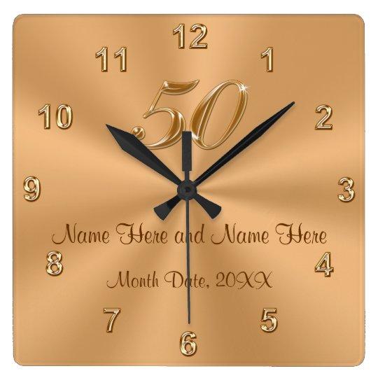 Golden Wedding Anniversary.Personalized Golden Wedding Anniversary Gift Clock