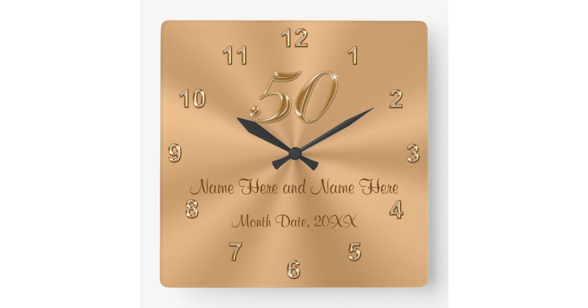 Golden Wedding Gifts Ideas: Personalized Golden Wedding Anniversary Gift Clock