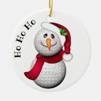 Personalized Golf Ball Snowman Santa Ceramic Ornament