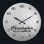 "Personalized Golf Ball Wall Clock<br><div class=""desc"">Fun,  personalized golf ball on this custom wall clock</div>"