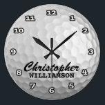 "Personalized Golf Ball Wall Clock<br><div class=""desc"">Fun,  personalized golf ball on this custom wall clock</div>"