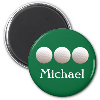 Personalized Golf Balls in a Row 2 Inch Round Magnet