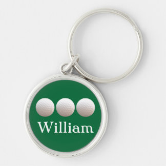 Personalized Golf Balls in a Row Keychain