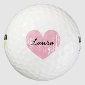 Personalized golf balls with cute pink heart