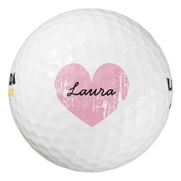 logotees Personalized golf balls with cute pink heart