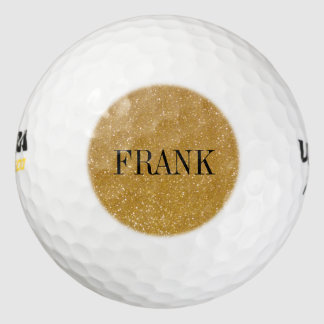 Personalized golf balls with gold glitter monogram