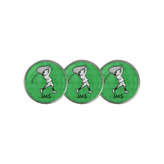 Personalized golf cartoon golfer golf ball marker