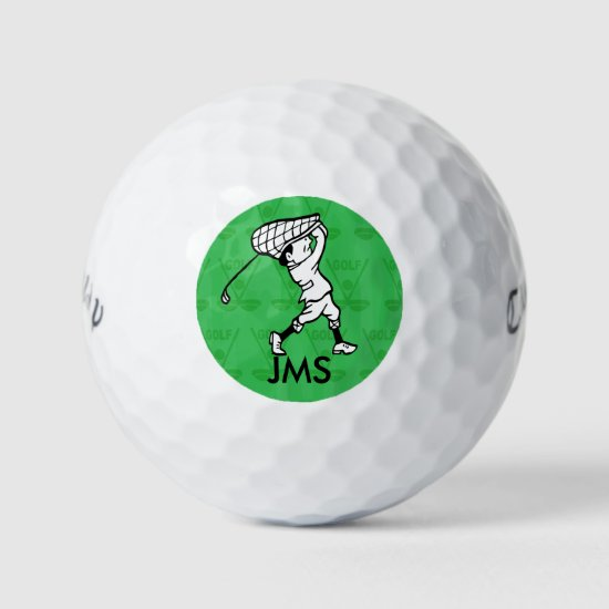Personalized golf cartoon golfer golf balls