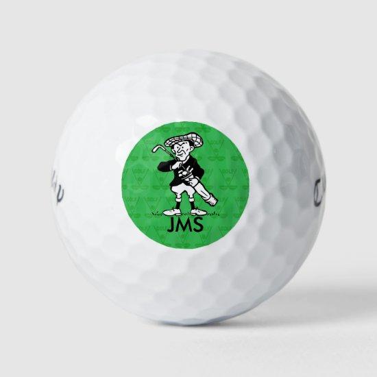 Personalized golf cartoon golfer golf balls