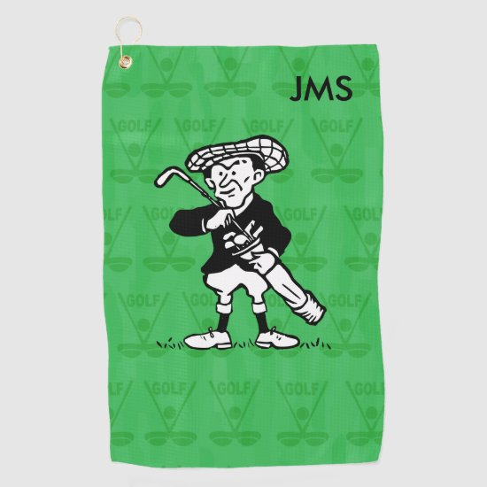 Personalized golf cartoon golfer golf golf towel