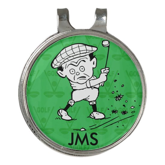 Personalized golf cartoon golfer golf hat clip