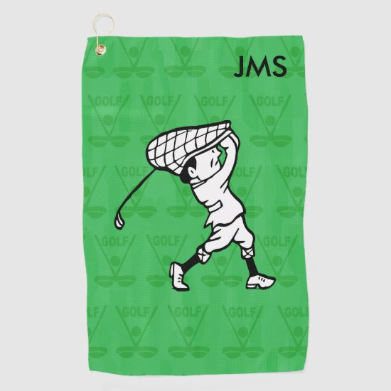Personalized golf cartoon golfer golf towel