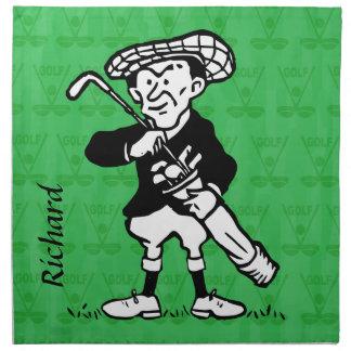 Personalized golf cartoon golfer napkin
