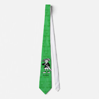 Personalized golf cartoon golfer neck tie