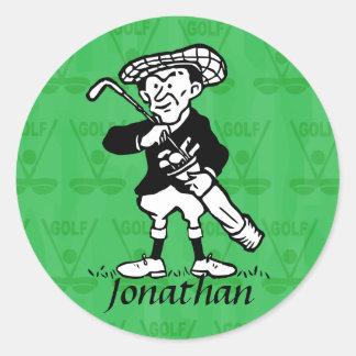 Personalized golf cartoon golfer sticker