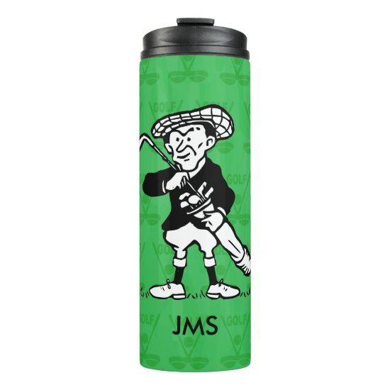 Personalized golf cartoon golfer thermal tumbler