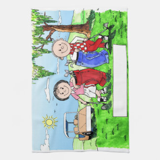 Personalized Golf Couple Cartoon Caricature Kitchen Towel