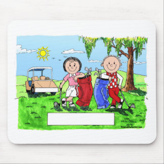 Personalized Golf Couple Cartoon Caricature Mouse Pad
