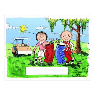 Personalized Golf Couple Cartoon Caricature Postcard