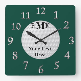 Personalized Golf Gifts with INITIALS, YOUR TEXT Square Wall Clock