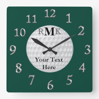 Personalized Golf Gifts with INITIALS, YOUR TEXT Square Wallclocks