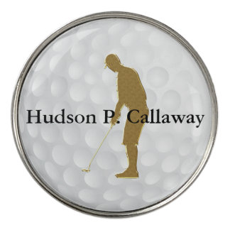 Personalized Golf Gold and Black White Texture Golf Ball Marker