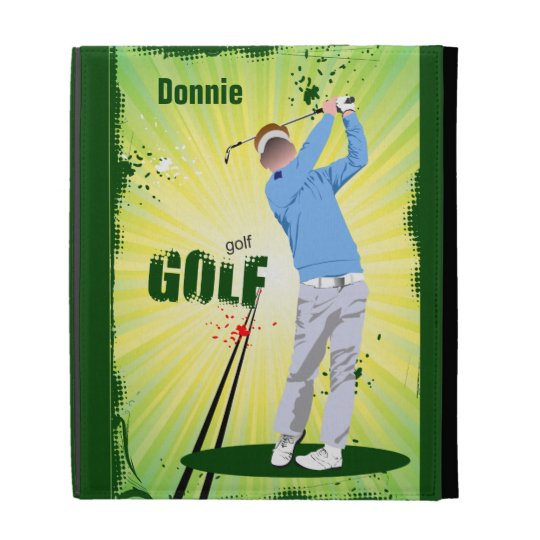 Personalized Golf Golfer Swinging Club iPad Case