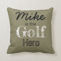 Personalized Golf Hero Throw Pillow