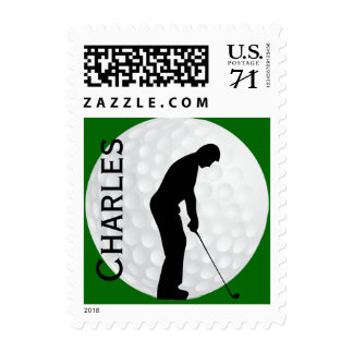Personalized Golf Themed Postage Stamp