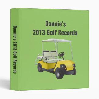 Personalized Golfer Golf Cart Score Record Keeping 3 Ring Binder