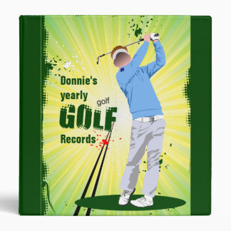 Personalized Golfer Golf Score Record Keeping Vinyl Binders