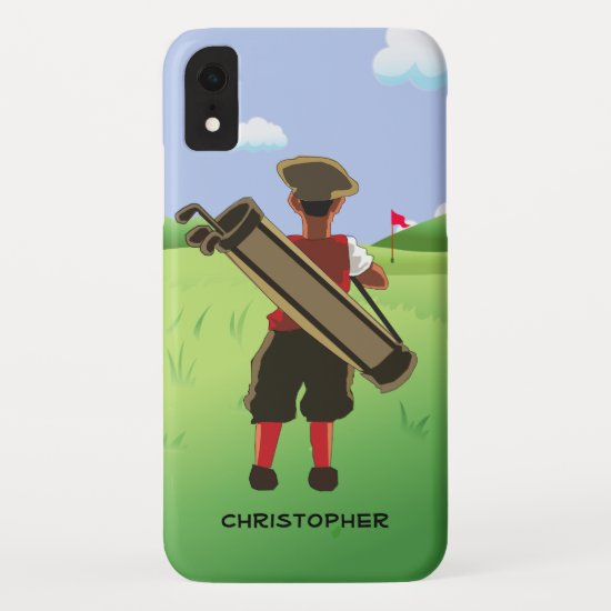 Personalized  golfer on golf course iPhone XR case