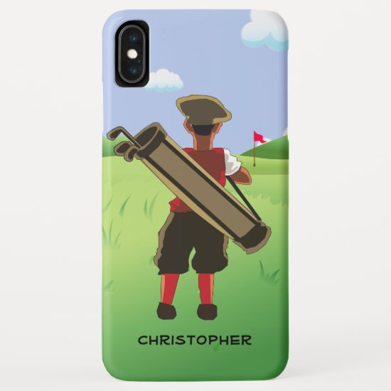 Personalized  golfer on golf course iPhone XS max case