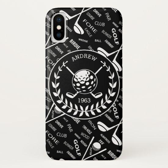 Personalized golfer stylish golf logo iPhone XS case