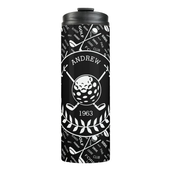 Personalized golfer stylish golf logo thermal tumbler
