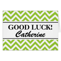 Personalized good luck cards with chevron pattern