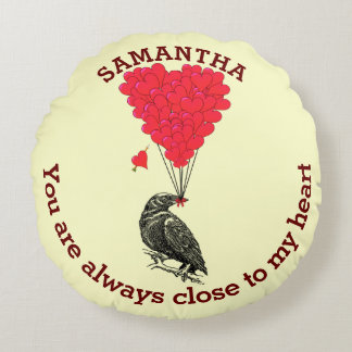 Personalized gothic crow and red valentines heart round pillow