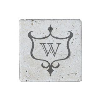 Personalized gothic medieval shield monogram stone magnet