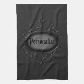 Personalized Gothic Ornament Black Kitchen Towel