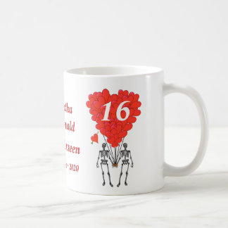 Personalized gothic skeleton Sweet Sixteen Classic White Coffee Mug