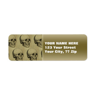 Personalized Gothic Skulls Pattern Gold Halloween Label