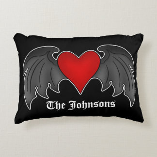 Personalized Gothic style winged heart on black Accent Pillow