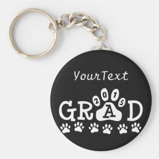 Personalized GRAD 2015 Black White PAWS Graduation Basic Round Button Keychain