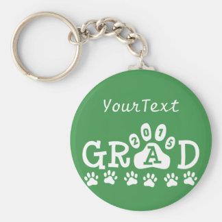 Personalized GRAD 2015 Green White PAWS Graduation Basic Round Button Keychain