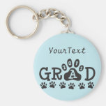 Personalized GRAD 2015 Light Blue PAWS Graduation Basic Round Button Keychain